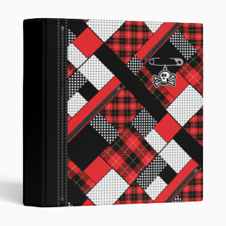 Red Patterned Punk Plaid  Binder