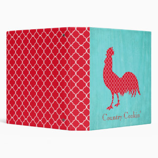 Red Patterned Rooster Silhouette Vinyl Binder