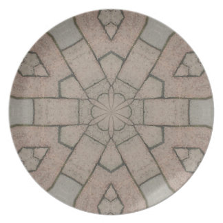 red pavers gardners kaleidescope abstract art plate