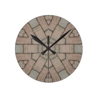 red pavers gardners kaleidescope abstract art round clock