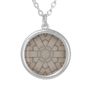 red pavers gardners kaleidescope abstract art silver plated necklace