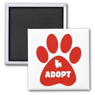 Red Paw Print Adopt Magnet