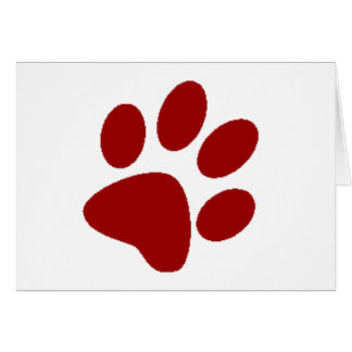 Red Paw Print Card