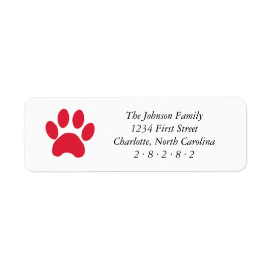 Red Paw Print Holiday Return Address Label