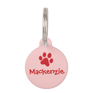 Red Paw Print Pet Name Tags