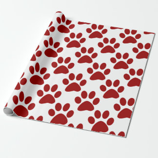 Red Paw Print Wrapping Paper