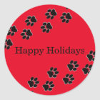Red Paw Prints - Circle Sticker