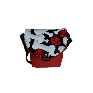 Red Paws And Dog Bones Commuter Bags