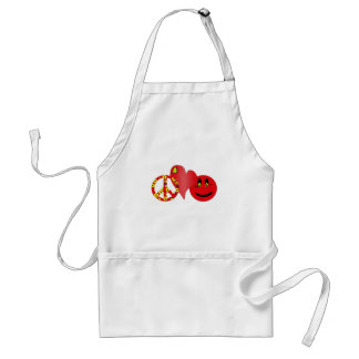 Red Peace Love Happiness Standard Apron