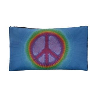 Red Peace Sign Blue Tie Dye Wristlet