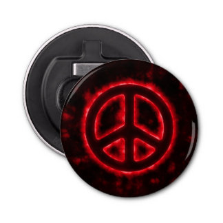 Red Peace Sign Bottle Opener