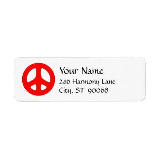 Red Peace Sign Custom Return Label
