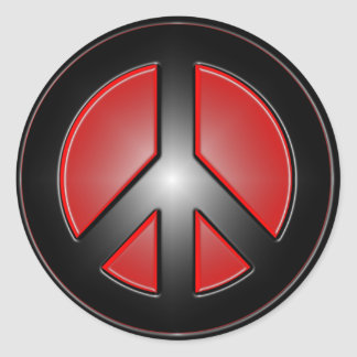 red peace sign round stickers
