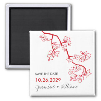 Red Peach Blossoms Wedding Save The Date Magnet