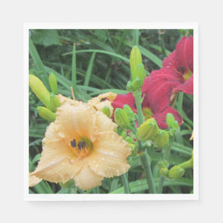 Red Peach Rainy Day Daylilies Napkin