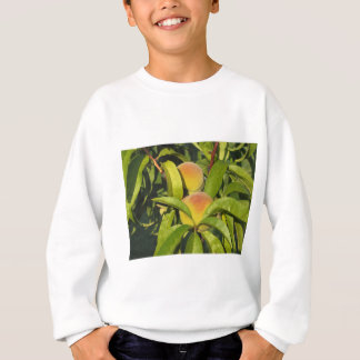 Red peaches on tree branches in a cultivated land sweatshirt