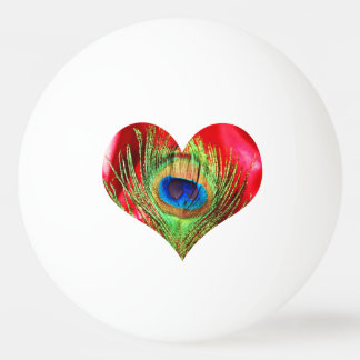 Red Peacock Heart Ping Pong Ball