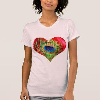 Red Peacock Heart T-Shirt