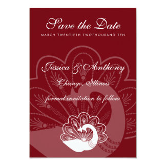"""red peacock save the date 5"""" x 7"""" invitation card"""