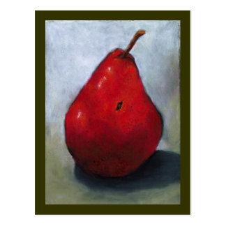 RED PEAR: OIL PASTEL ART: FRUIT POSTCARD