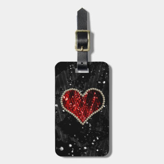 Red Pearl Heart Bag Tag