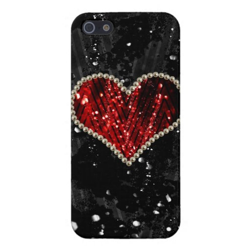 Red Pearl Heart Case For iPhone 5