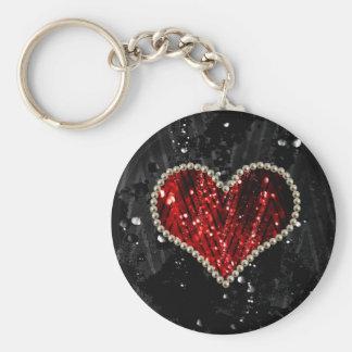 Red Pearl Heart Key Chain