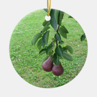 Red pears hanging on a growing pear tree ceramic ornament