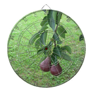 Red pears hanging on a growing pear tree dartboard