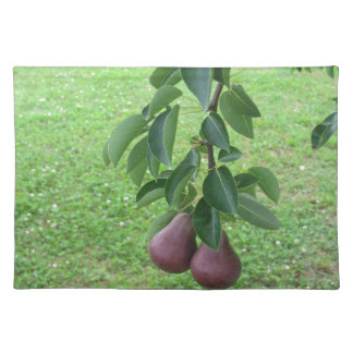 Red pears hanging on a growing pear tree placemat