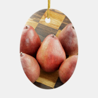 Red Pears on a Wooden Chess Board Ceramic Ornament
