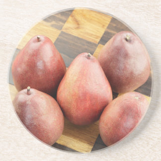 Red Pears on a Wooden Chess Board Coaster