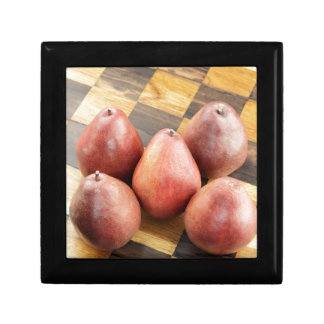 Red Pears on a Wooden Chess Board Gift Box