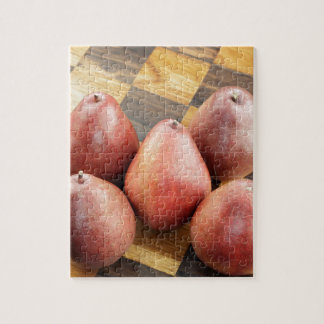 Red Pears on a Wooden Chess Board Jigsaw Puzzle