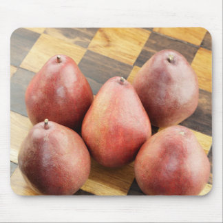 Red Pears on a Wooden Chess Board Mouse Pad