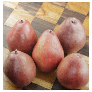 Red Pears on a Wooden Chess Board Napkin