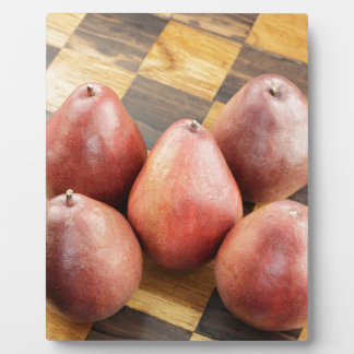 Red Pears on a Wooden Chess Board Plaque