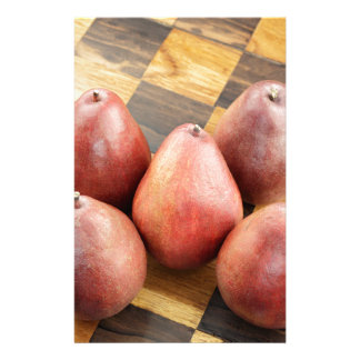 Red Pears on a Wooden Chess Board Stationery