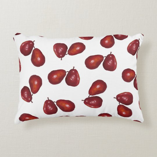 Red Pears Pattern, Oil Pastel Art, Fruit Decorative Pillow