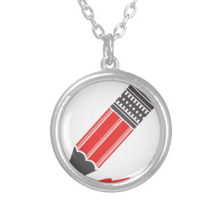 red pencil silver plated necklace
