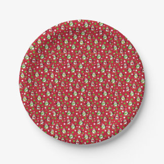 Red Penguin Christmas Party Paper Plate