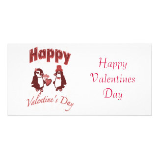 Red Penguin Happy Valentines Day Custom Photo Card