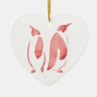 Red Penguin Pair Ceramic Heart Ornament