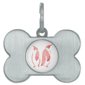 Red Penguin Pair Pet ID Tags