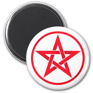 red pentacle 2 inch round magnet