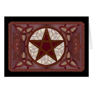 Red Pentagram, Triquatras & Celtic Knot-Work #2 Card