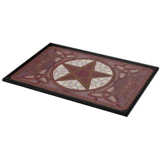 Red Pentagram,Triquatras, & Celtic Knot-Work Cutting Board