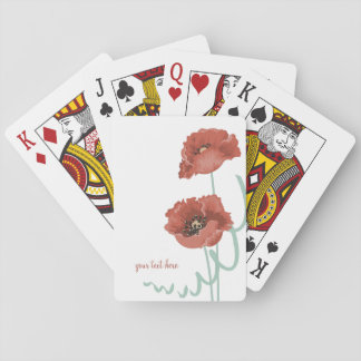 Red Peonies Playing Cards