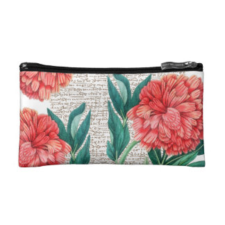 Red Peony Calligraphy Makeup Bag