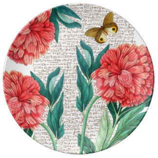 Red Peony Calligraphy Plate